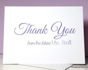 Personalized Bridal Shower Thank You Cards - Custom Bridal Shower Cards - Thank You From the Future Mrs Cards - Customize Your Colors DM129