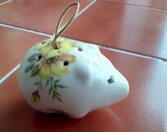 Pig shaped pot pourri ceramic pomander lownds paceman hanging strap