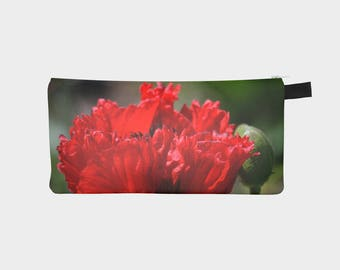 Red Poppy Pencil Pouch/ Make Up Bag