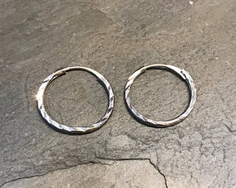"0.5"", Vintage sterling silver twisted loop earrings, fashion minimalist, fine 925 silver twisted hoops"