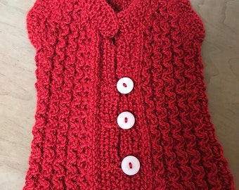 Red Handmade Sweater Vest