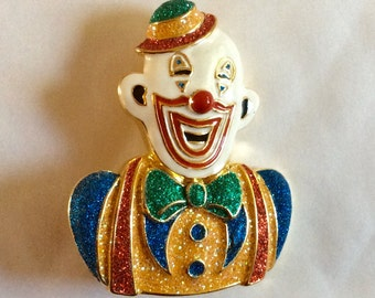 Clown Paramount Studios Circus Big Top vintage enamel and  gold tone brooch / pin