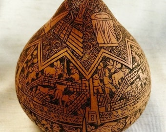 "Peruvian traditional hand carved gourd decorated figurine stories artist signed ""Maria"","