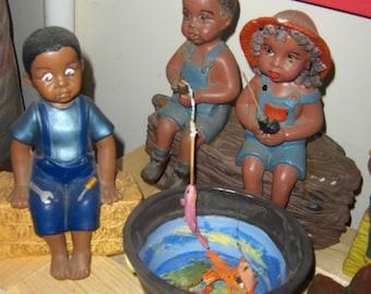 African-American fishing kids