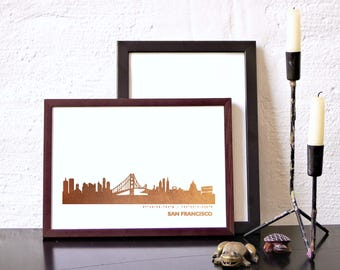 SAN FRANCISCO pink-gold-foil Poster, San Francisco City Skyline, San Francisco art work, red-gold San Francisco Print, San Francisco lovers