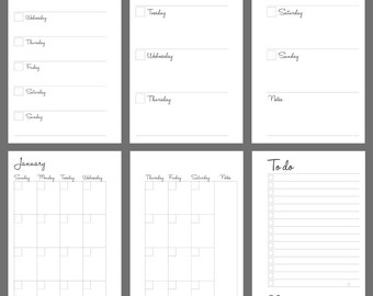 Printable Weekly Planner, Undated, Personal Size, Instant PDF Download, Handletter Font