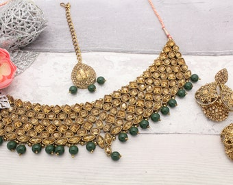 Antique Gold Green Kundan Choker Necklace, Jhumki Earrings & Tikka headpiece jewellery set