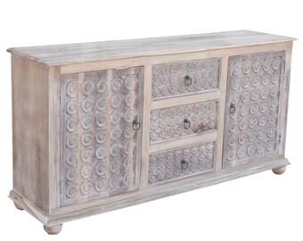Whitewash Scroll Sideboard, Carved Buffet, Vintage Sideboard,White washed sideboard,Teak cabinet,Modern buffet,Carved sideboard,Indian Chest