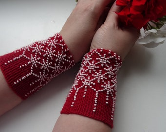 Beaded wrist warmers, knittted wristlets, red pulse warmers