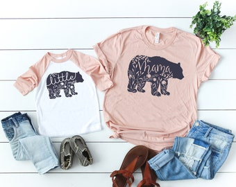 Mama Bear Shirt // Little Bear Shirt // Mommy And Me Shirts// Mom Life // Mother Daughter Shirts // Mother Son Shirts //  Floral Mama Bear