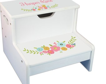Personalized Spring Floral Childrens Step And Storage Stool