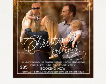 Christmas Mini Session Template - Photography Marketing Board - Christmas Minis - Photoshop Template 021 - ID264, Instant Download