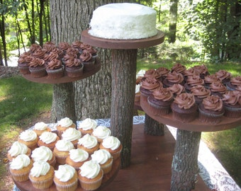 Rustic Cupcake Stand, Rustic Cake Stand, Rustic Wedding, Log Slice Cupcake Stand, Tree Cupcake Stand, 5 Tier Cupcake Stand, Stump Cake Stand
