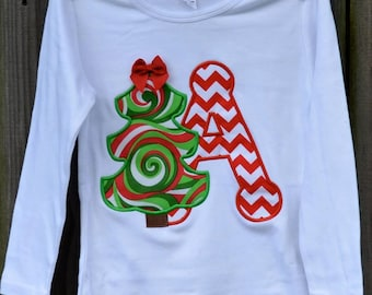 Christmas Tree with Initial Applique Shirt or Bodysuit Boy or Girl Choose your color!