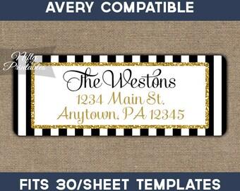 Printable Address Labels - Black & Gold Glitter Return Address Label - Avery Compatible - Elegant Return Address - Baby Bridal Shower BGL