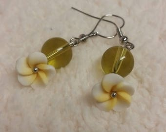 Yellow Frangiponi Flower dangle earrings