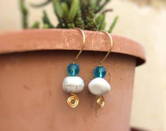 Natural Howlite Dangle Earrings, Stress Relief, Gold Plated Earrings, Swirl Earrings, Gemstone Earrings, Spiral Earrings, Ready to Ship