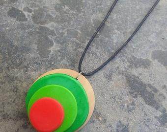 pendant necklace - cord - polymer clay pendant - Circle Pendant Necklace - wood - colored pendant - hippie necklace pendant
