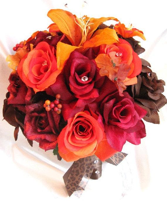 Wedding bouquets Bridal Silk flower BURGUNDY Burnt ORANGE Lily