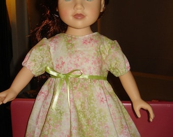 Pretty pink & green muted floral full dress for 18 inch Dolls - ag67