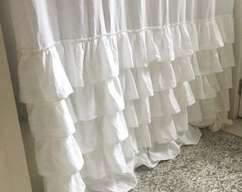 5 Ruffle Shower Curtain, Shabby Chic, White Linen, Linen Shower Curtain, Ruffle Shower Curtain, Belgian Linen, Ruffle Linen Shower Curtain