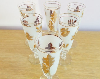 Mid Century Champagne Flute Glasses 22 Karat Gold and White Leaf Design - Set of 6 Pilsner Glasses - Libbey Comapny 1960s