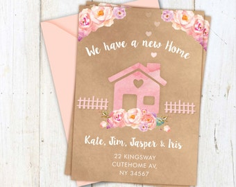 New home postcards, change of Address Postcards, New Home Announcement, New home cards, moving house card, new address, bunting card