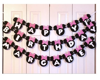 Minnie Mouse Birthday Banner | Minnie Mouse 1st Birthday Party Decorations | Minnie Mouse Garland | Pink Minnie Mouse Banner