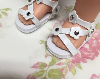 Wellie wisher 14 inch doll shoes, accessories for dolls, wellies American girl doll accessories, shoes for Wellie wisher white sandals
