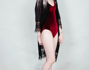 Lovespell - Merlot velvet bodysuit with high cut legs - wine burgundy boho rock
