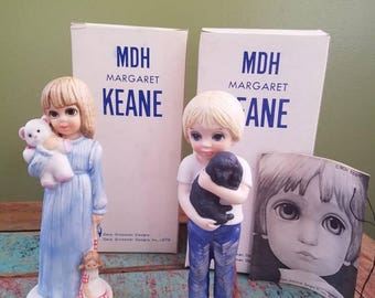 Margaret Keane - Big Sad Eyes - 1976 1977- 2 - Vintage Figures Figurines - Dave Grossman Designs Bedtime  / Boy and his Dog