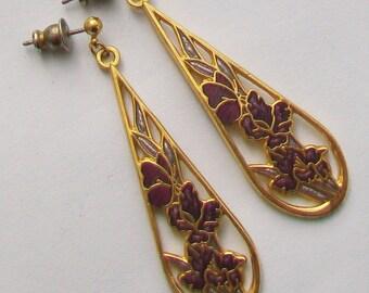 Purple Guilloche Enamel Cloisonne Flowers Stamped FISH Dropper Earrings