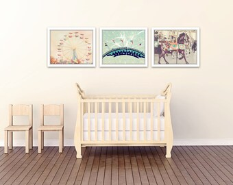 carnival nursery decor, carnival prints, carnival photography, toddler room decor, nursery wall art, set of 3 photos, carnival art, baby art