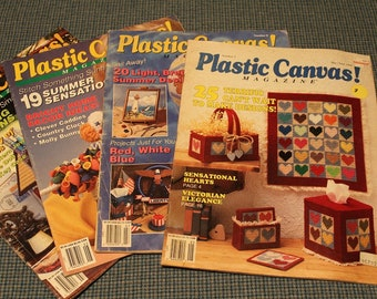 4 - Plastic Canvas Pattern Magazines ~ Terrific 82 Designs to Make ~ Treasury of Gift Ideas ~ Bright Home Decor Designs ~ Back Issues 1990's