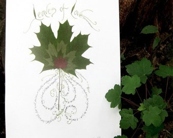 Leaves of Love print from real leaves and calligraphy