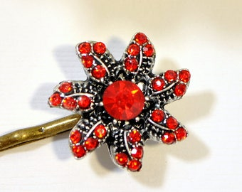 Flower Bobby Pin Red Bobby Pins Flower Bobbies Red Hair Pins Hair Accessories Date Night