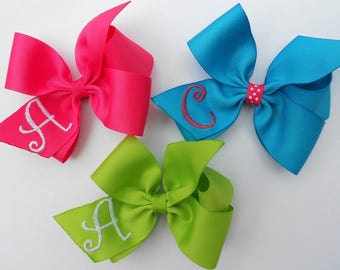 Set of 3, You Design, Initial Hair Bows, Birthday party, Easter Spring, Gift Idea, Triplets, Girls Hairbows, Embroidery, Kids Tween Monogram