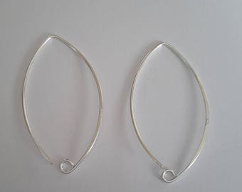 10 Sterling silver Marquise  Oval Ear Wires Earring Hooks hoops 33 mm long findings