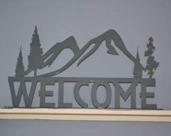 Scenic Mountain Welcome Sign