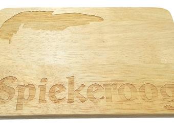 Brotbrett Spiekeroog engraving Island North Sea Wood-breakfast board-engraving