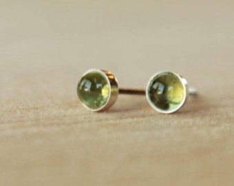 Peridot Gemstone Titanium Stud Earrings / 5mm Cabochon Bezel Set / Hypoallergenic Earrings Studs