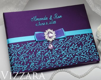 Alternative wedding guest book Purple and blue wedding Personalized wedding guest books Blue and purple wedding colors Guest wedding book