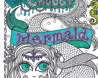 The  Chubby Mermaid Coloring Book  Fun for all ages be the ArTiST Mermaids Sea life Ocean Beach Adult coloring whimsical markers gel pens