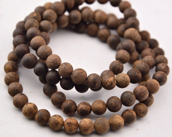 108PCS Natural Sandalwood Beads Vietnam Aquilaria Beads Mala Beads 8mm 6mm