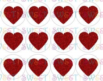 Edible Impressionist Heart Cake, Cupcake and Cookie Toppers - Wafer Paper or Frosting Sheet