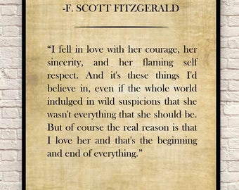 The Great Gatsby Art Print, F. Scott Fitzgerald Quote, Custom Art Print, Book Page Art Print, Wall Art, Christmas Gift, Gift for Book Lovers