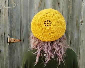slouchy hat, romantic floral vintage, lace hat, mothers day gift, knit hat, flower beret, autumn hat, boho, bohemian, mori girl, vintage