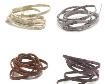 "1 m + 1 m (free) ""overlay"" 5 mm flat leather cord colors available"