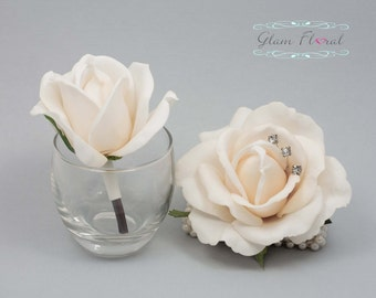 Ivory Rose Wrist Corsage and Boutonniere Set. Real Touch Flowers. Caroline Rose Collection