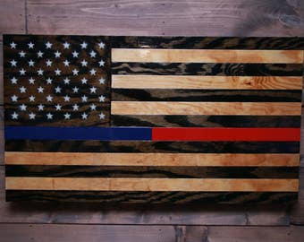 Police and Fire - American Flag -Military Veteran Made -Wood Flag -Patriotic Police & Firefighter -Handmade -Wall Decor -Rustic -Wall Art